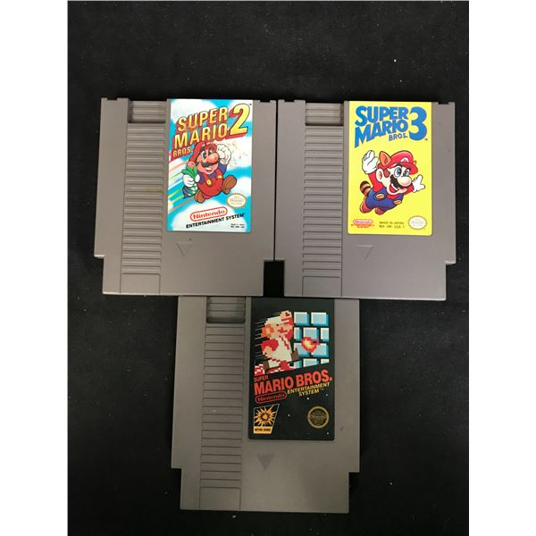 SUPER MARIO NINTENDO VIDEO GAME LOT (SUPER MARIO BROS, SUPER MARIO BROS 2 & SUPER MARIO BROS 3)