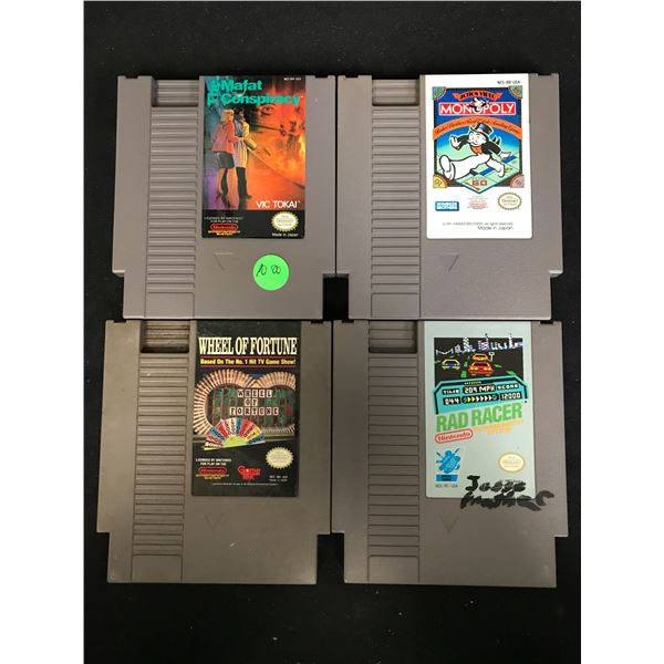 NINTENDO VIDEO GAME LOT (THE MAFAT CONSPIRACY, MONOPOLY, WHEEL OF FORTUNE & RAD RACER)