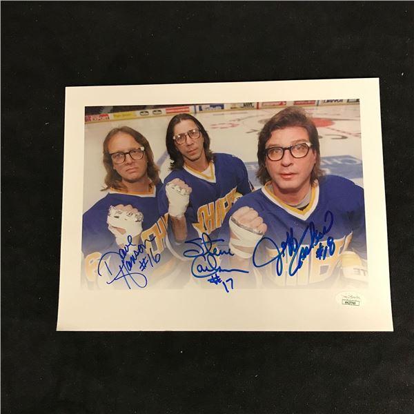 """THE HANSON BROTHERS TRIPLE SIGNED 8 X 10 """"SLAP SHOT"""" PHOTO (JSA COA)"""