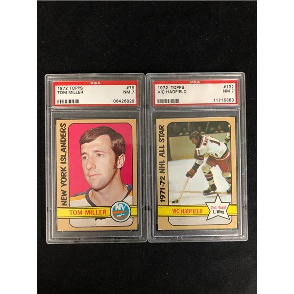 1972 TOPPS GRADED HOCKEY CARD LOT (#76 MILLER/ #132 HADFIELD)