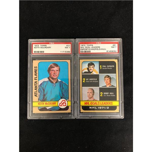 1972 TOPPS GRADED HOCKEY CARD LOT (#27 McCREARY/ #61 NHL GOAL LEADERS)