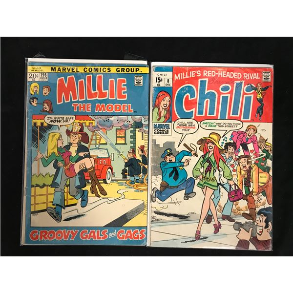 VINTAGE MARVEL COMICS BOOK LOT (MILLIE THE MODEL #196/ CHILI #8)
