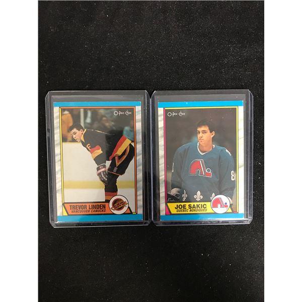 1989-90 O-PEE-CHEE HOCKEY ROOKIE CARD LOT (LINDEN/ SAKIC)