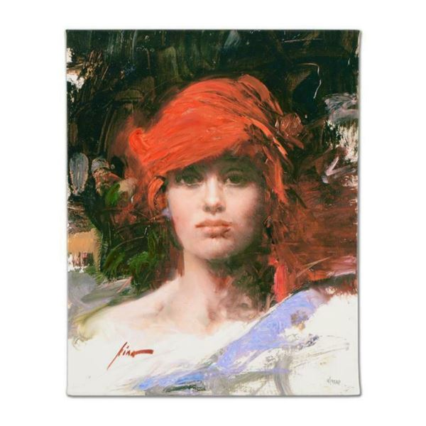 """Pino (1939-2010), """"Red Turban"""" Artist Embellished Limited Edition on Canvas, AP Numbered and Hand Si"""