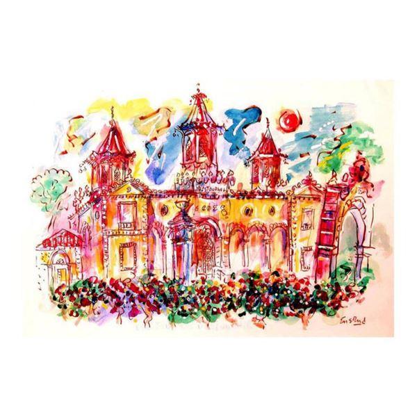 """Wayne Ensrud """"Chateau Cos D'Estournel"""" Mixed Media Original Artwork; Hand Signed; COA"""