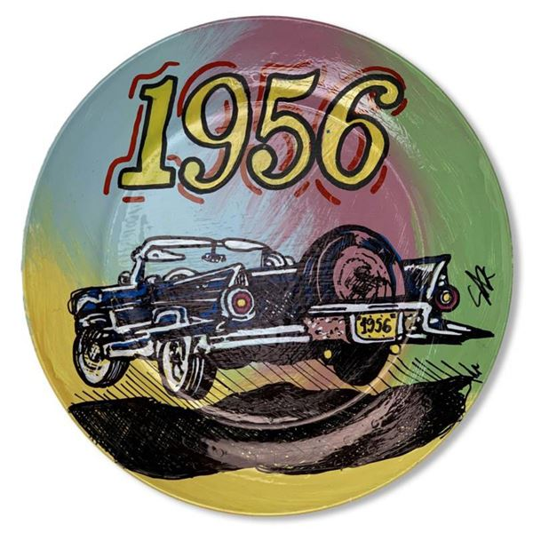 """Steve Kaufman (1960-2010) """"1956"""" Hand Painted Plate, Hand Signed with Letter of Authenticity."""