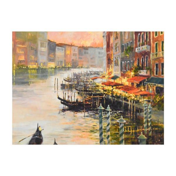 """Marilyn Simandle, """"Canal at Dusk"""" Limited Edition on Canvas, Numbered and Hand Signed with Letter of"""