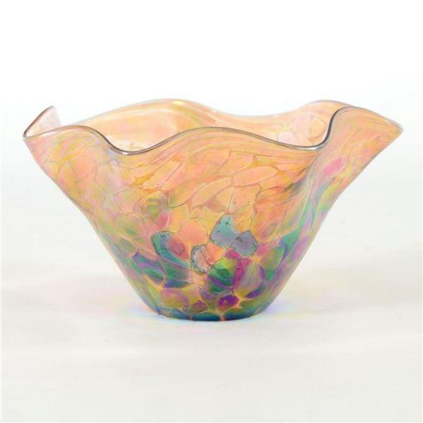 "Glass Eye Studios, ""Mini Wave Bowl (Island Mix)"" Hand Blown Glass Sculpture (Second)."