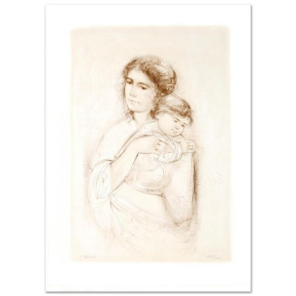 """""""Leona and Baby"""" Limited Edition Lithograph by Edna Hibel, Numbered and Hand Signed with Certificate"""