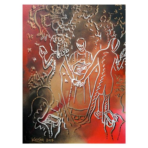 """Mark Kostabi """"Leave A Comment Down Below"""" Hand Signed Original Artwork with COA."""
