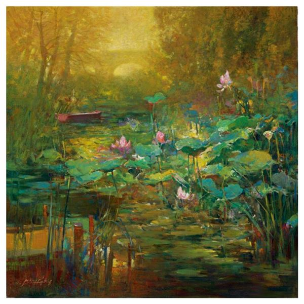 """Ming Feng, """"Golden Lily Pads"""" Hand Embellished Limited Edition on Canvas, Numbered and Hand Signed w"""