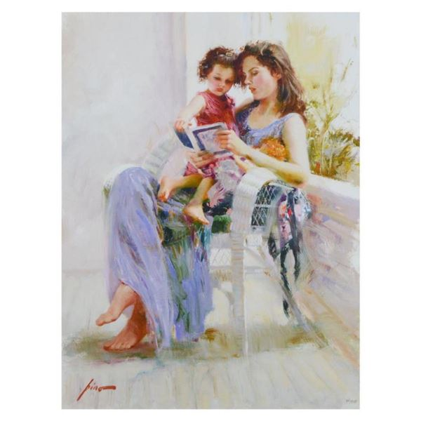 """Pino (1939-2010)- Hand Embellished Giclee on Canvas """"Book of Poems"""""""