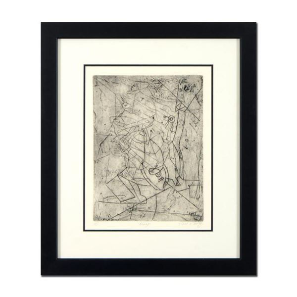 """Neal Doty (1941-2016), """"Troupe"""" Framed Unique Variation Mixed Media Linocut from an AP Edition, Hand"""
