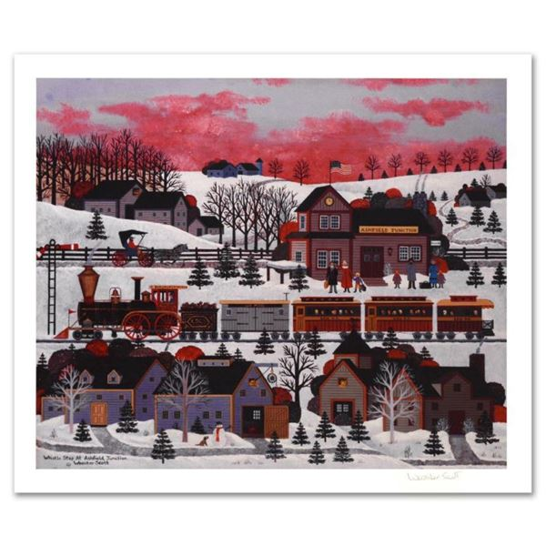 """Jane Wooster Scott, """"Whistle Stop at Ashfield Junction"""" Hand Signed Limited Edition Lithograph with"""