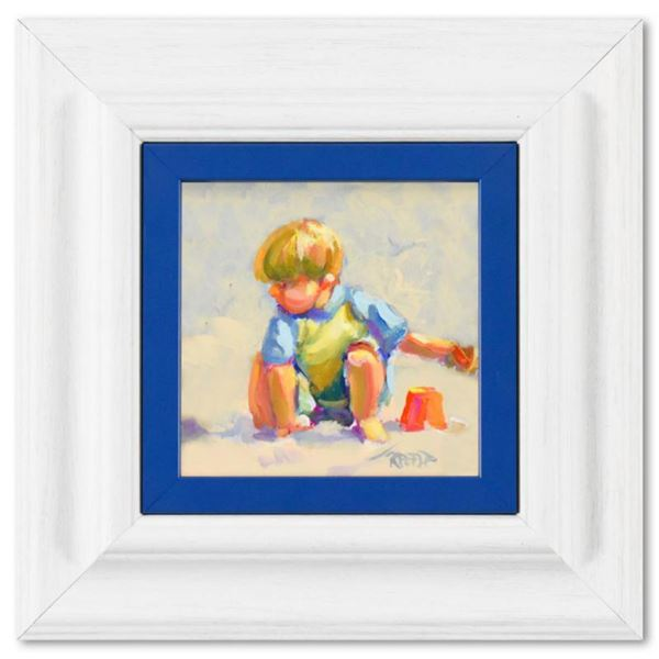"""Lucelle Raad, """"Boy"""" Framed Original Acrylic Painting on Board, Hand Signed with Letter of Authentici"""