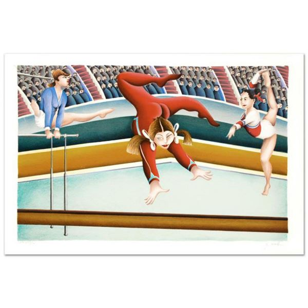 """""""Gymnast"""" Limited Edition Lithograph By Yuval Mahler, Numbered and Hand Signed with Certificate of A"""