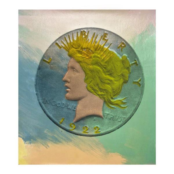 """Steve Kaufman (1960-2010) """"1921 Coin"""" Hand Signed and Numbered Limited Edition Hand Pulled silkscree"""
