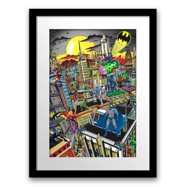 "Charles Fazzino- 3D Construction Silkscreen Serigraph ""BATMAN RULES THE NIGHT"""