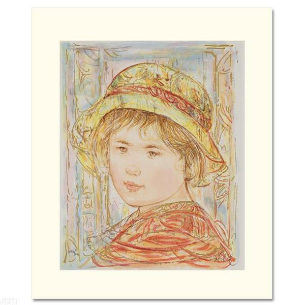 """""""Lemual"""" Limited Edition Serigraph by Edna Hibel (1917-2014), Numbered and Hand Signed with Certific"""