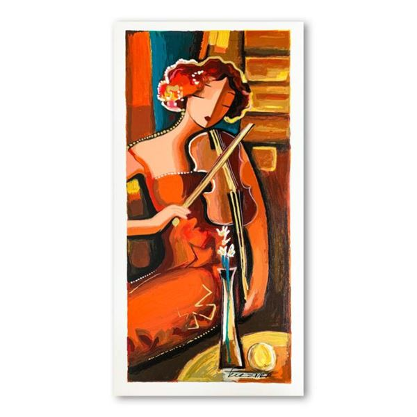 Michael Kerzner,  The Violinist  Hand Signed Limited Edition Serigraph on Paper with Letter of Authe