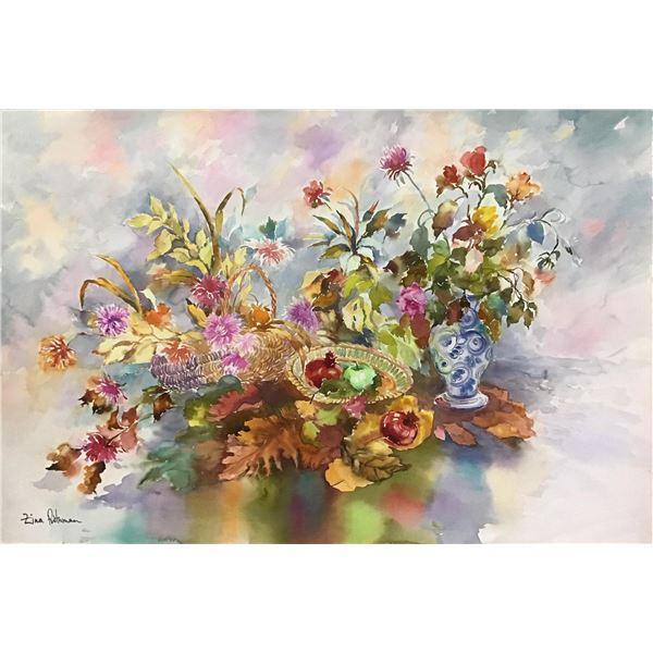 "Zina Roitman- Original Watercolor ""Fruits and Flowers"""