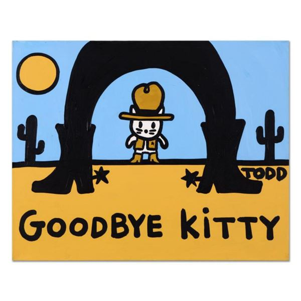 Todd Goldman,  Goodbye Kitty  Original Acrylic Painting on Gallery Wrapped Canvas, Hand Signed with
