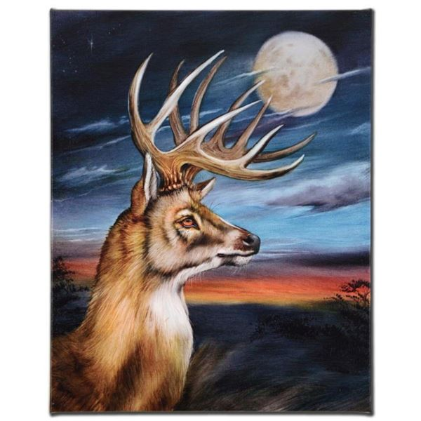 White Tail Moon  Limited Edition Giclee on Canvas by Martin Katon, Numbered and Hand Signed. This p