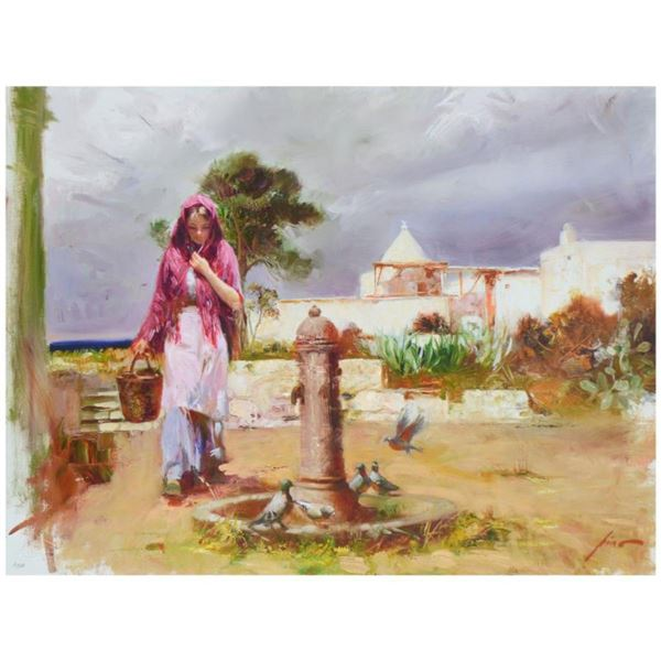 """Pino (1939-2010)- Hand Embellished Giclee on Canvas """"The Water Fountain"""""""