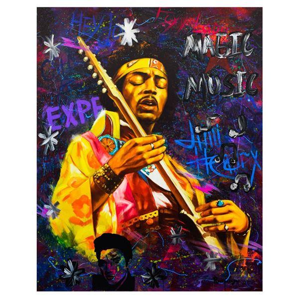 """Nastya Rovenskaya- Mixed Media """"Jimi Hendrix"""""""