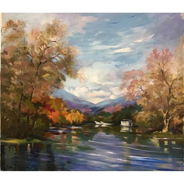 "Zina Roitman- Original Oil on Canvas ""Lake in Summer"""