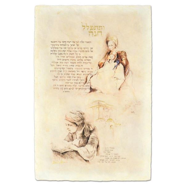 "Brachi Horen, ""Chanah's Prayer"" Hand-Embellished Mixed Media with Goldleaf, Hand Signed with Certifi"