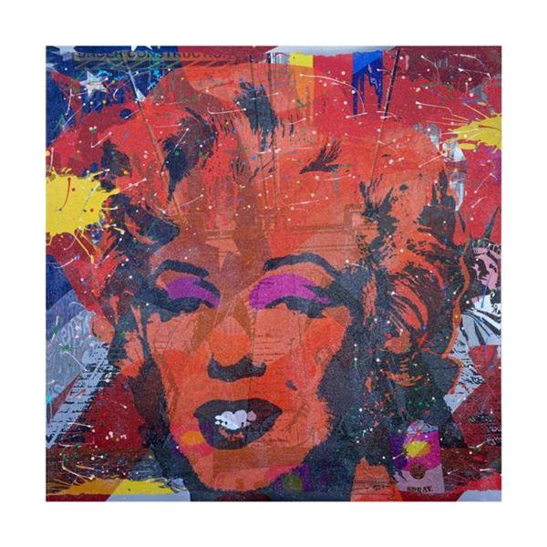 "Jozza, ""Marilyn"" Hand Signed Original Mixed Media on Canvas with COA."