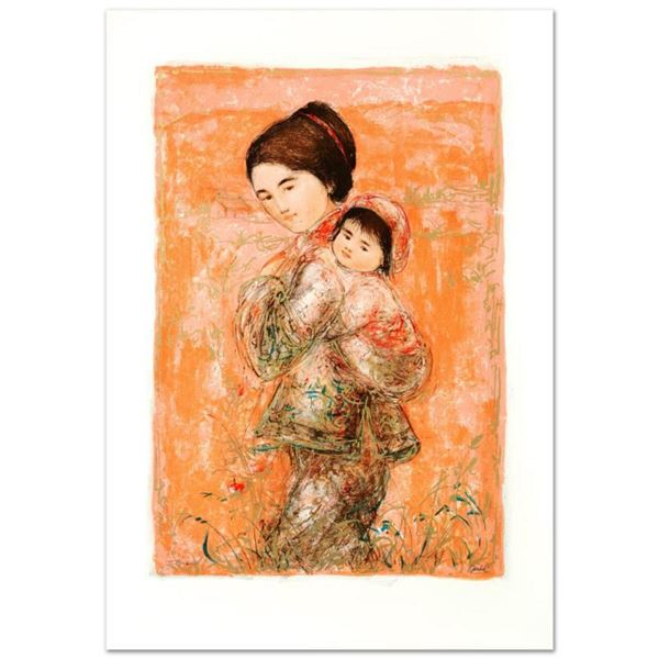 """""""Morning Stroll"""" Limited Edition Lithograph by Edna Hibel (1917-2014), Numbered and Hand Signed with"""