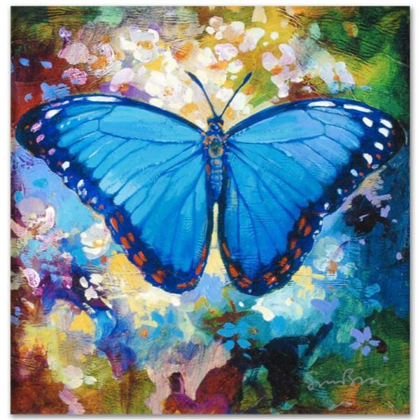 """""""Blue Morpho"""" Limited Edition Giclee on Canvas by Simon Bull, Numbered and Signed. This piece comes"""