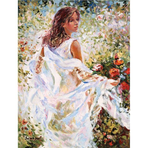 "Igor Semeko- Original Giclee on Canvas ""Lady in White Dress"""