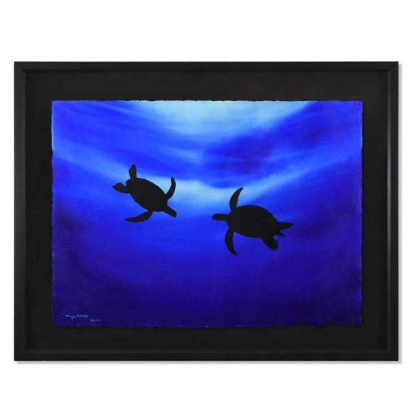 """Wyland, """"Turtle Dance"""" Framed Original Watercolor Painting Hand Signed with Letter of Authenticity."""