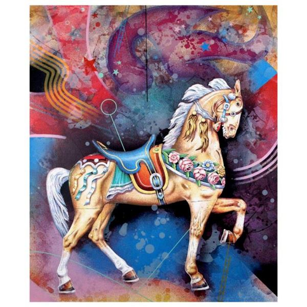 """Yankel Ginzburg, """"Carousel"""" Hand Signed Limited Edition Serigraph with Letter of Authenticity."""