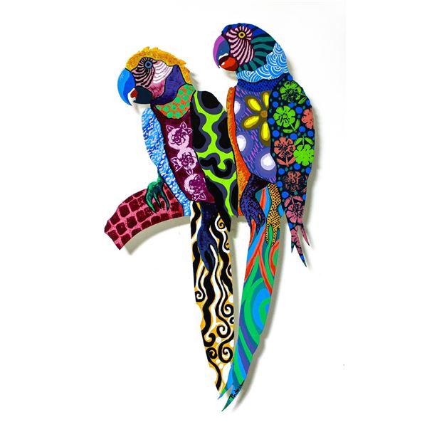 "Patricia Govezensky- Original Painting on Laser Cut Steel ""Two Parrots XXIII"""