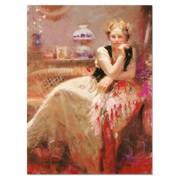 """Pino (1939-2010), """"A Pause"""" Artist Embellished Limited Edition on Canvas, Numbered and Hand Signed w"""
