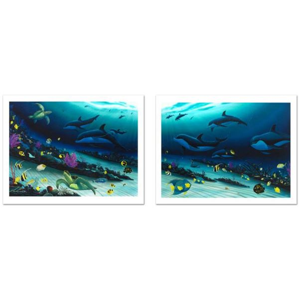 """""""Radiant Reef"""" Limited Edition Giclee Diptych on Canvas (35"""" x 26"""") by Wyland, Numbered and Hand Sig"""
