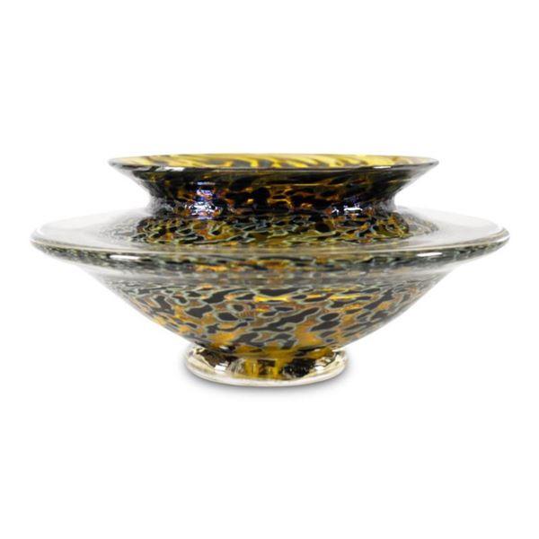 """Large Ikebana Flower Bowl"" Hand-Blown Glass Bowl, Hand Signed by GartnerBlade Glass."