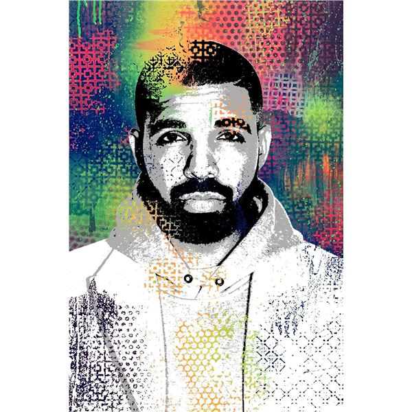 """Shlomi J- Original one of a kind mixed media on canvas with glass glitter """"Drake"""""""