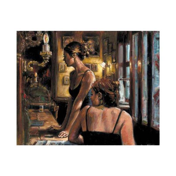 """Fabian Perez, """"El Federal Cafe"""" Hand Textured Limited Edition Giclee on Board. Hand Signed and Numbe"""