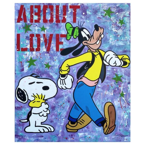 """Jozza, """"About Love"""" Hand Signed Original Mixed Media on Canvas with COA."""