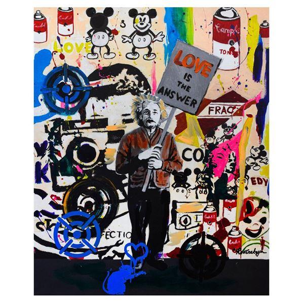 "Nastya Rovenskaya- Mixed Media ""Einstein's Placard"""