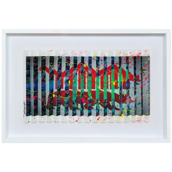 """E.M. Zax- One-of-a-kind 3D polymorph mixed media on paper """"Wall Street"""""""
