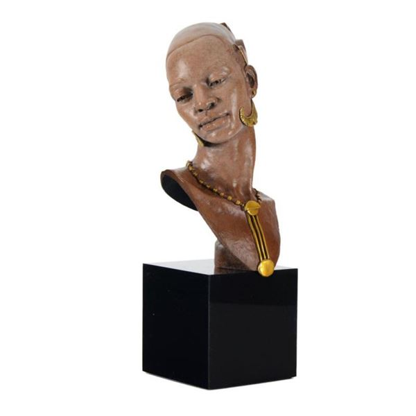 """Thomas Blackshear, """"Romance"""" Limited Edition Mixed Media Sculpture on Marble Base, Numbered with Cer"""
