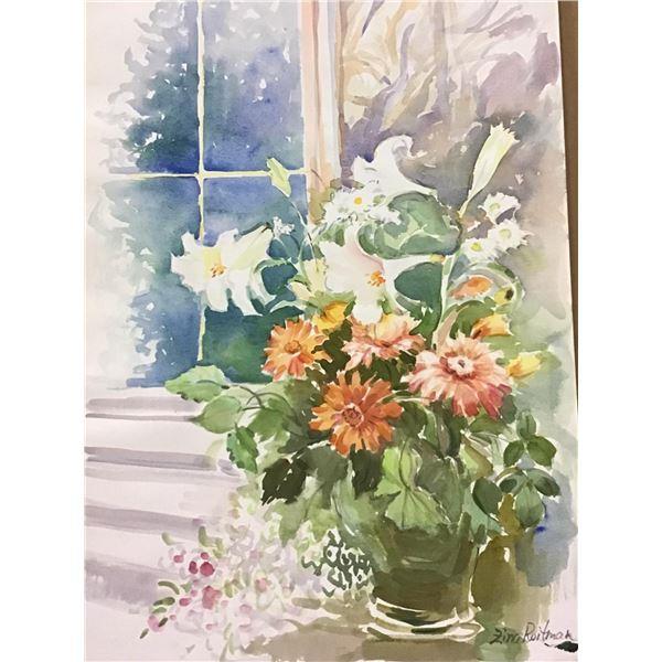 "Zina Roitman- Original Watercolor ""Bouquet at the window"""