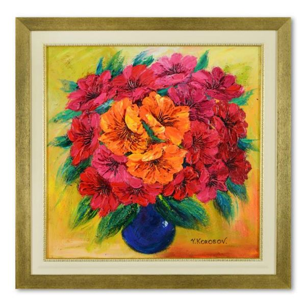 Yana Korobov, Framed Original Acrylic Painting on Canvas, Hand Signed with Letter Authenticity.