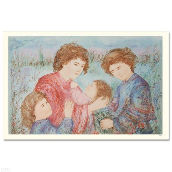 """""""Early Spring"""" Limited Edition Serigraph by Edna Hibel (1917-2014), Numbered and Hand Signed with Ce"""